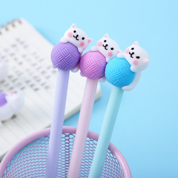 3pcs Cute Cat Playing with Wool Pen Ballpoint 0.5mm Black Color Gel Ink Pens for Writing Kids Girl Gift Office School A6987 3pcs beautiful star and moon gel pen set 0 5mm black color ink pens writing girl gift stationery office school supplies a6538