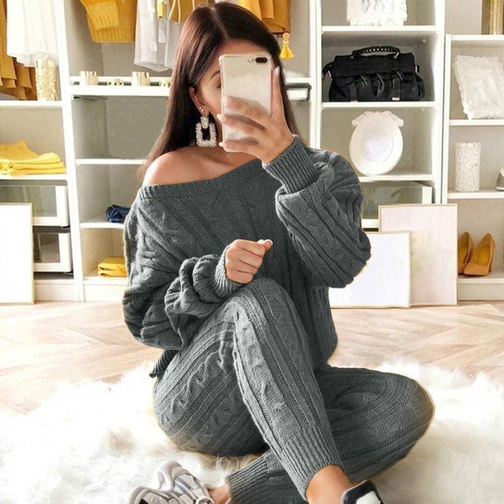 Litthing Autumn Women Knitted 2 Pcs Sweater Set Ladies Warm Jumper Sets O Neck Knitted Pullovers And Long Pants Casual Sets 2019