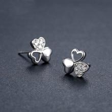925 Sterling Silver Earrings Clover Zircon Love-Family Affection-Friendship Fashion Womens Ear Jewelry