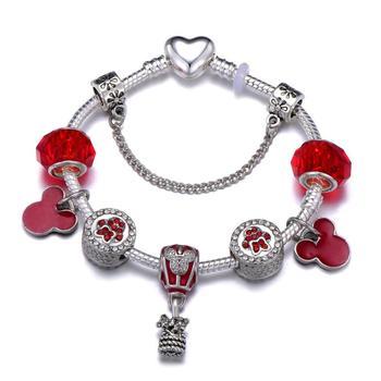 Cute Mickey Mouse Themed Bracelet Bracelets Jewelry New Arrivals Women Jewelry Metal Color: 31 Length: 20cm