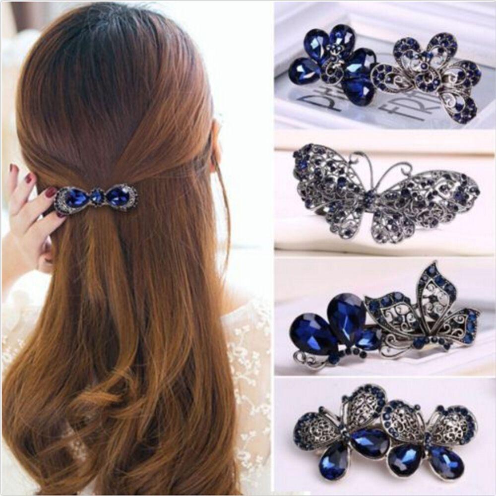 1pcs Fashion Women Girl Crystal Rhinestone Flower Barrette Hair Clip Vintage Rhinestone Flower Hair Butterfly Clamp Hairpin  New