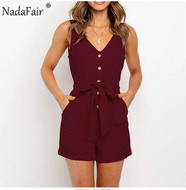 Nadafair Summer Casual Playsuit Women V Neck Belt Tunic Black Orange Pink Solid Overalls For Women Short Jumpsuit 5