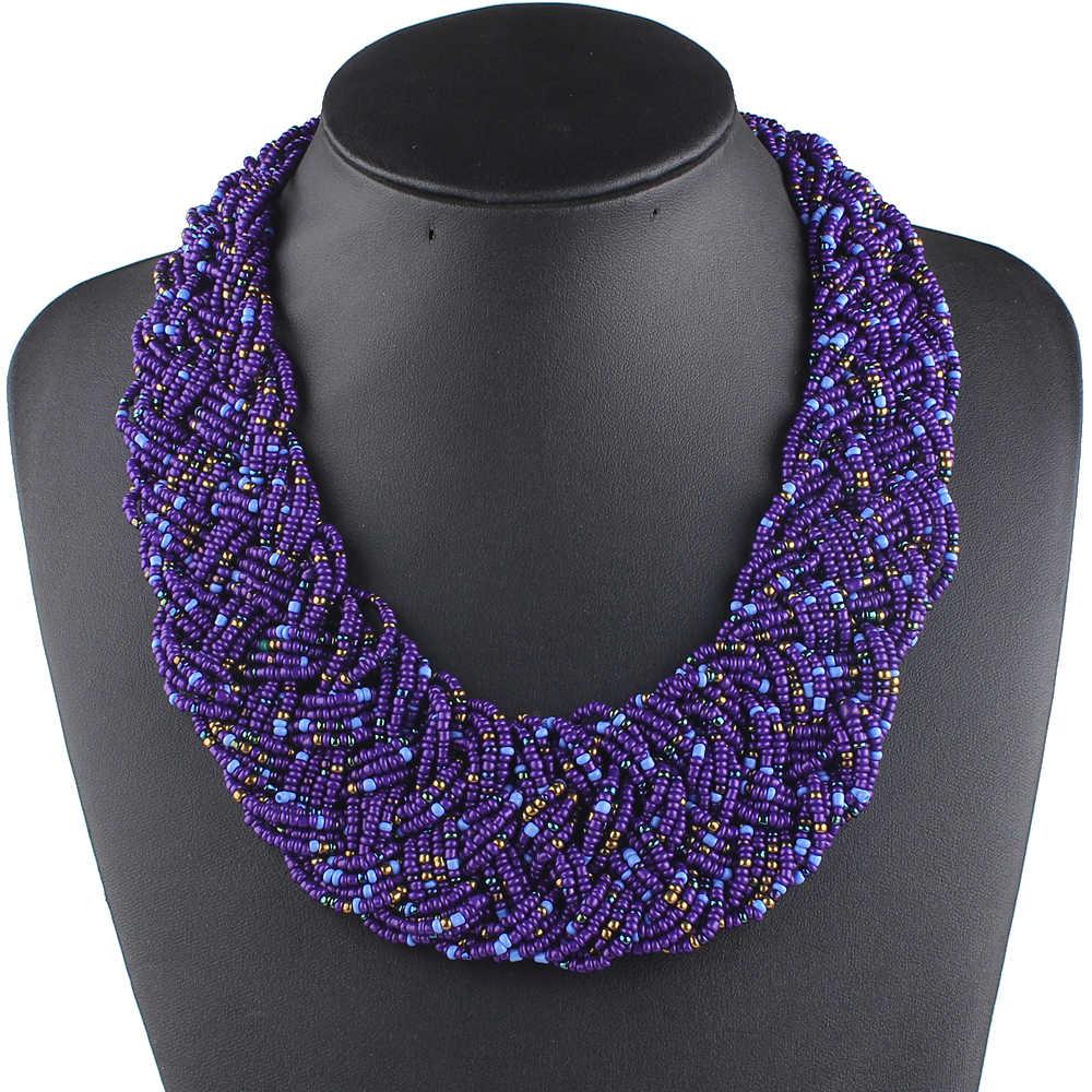 Claire jin colar feminino boêmio artesanal tecido pequeno grânulos gargantilha colares moda vintage jóias étnicas