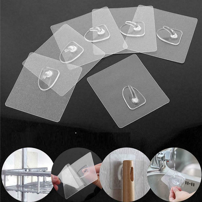 Door-Wall Kitchen Hangers-Hooks Storage Bathroom-Accessories Hanging Self-Adhesive Transparent title=