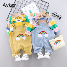 Baby Overalls Kids Rainbow Striped Girl Boy Jumpsuit Tops Clothing Sets 2Pcs 2019 Fall Winter Toddler for