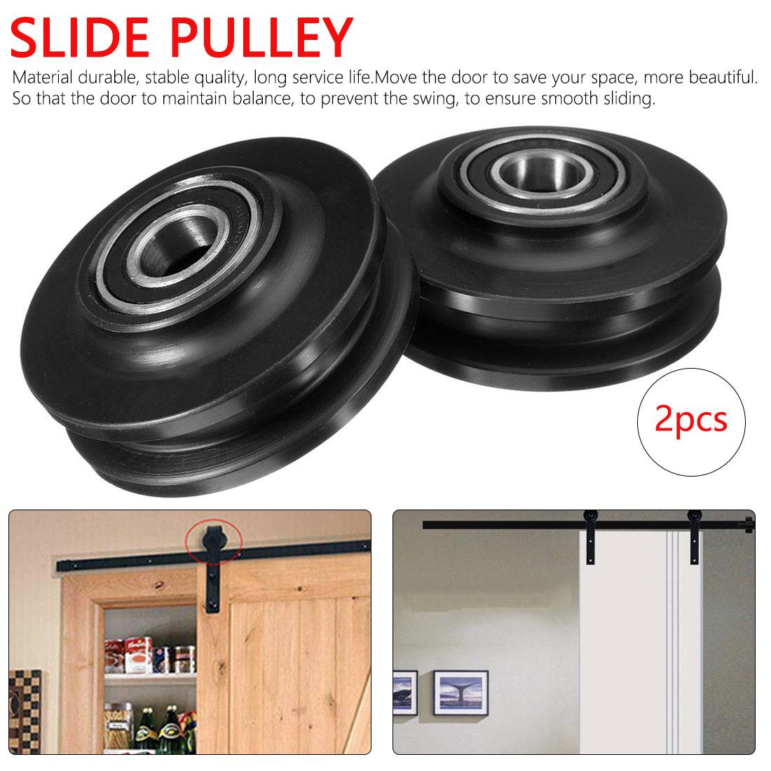 2pcs American Sliding Door Pulley Cabinet Window Pulley Door Sliding Shower Runner Door Bathroom Double Bearing Barn Door Pulley