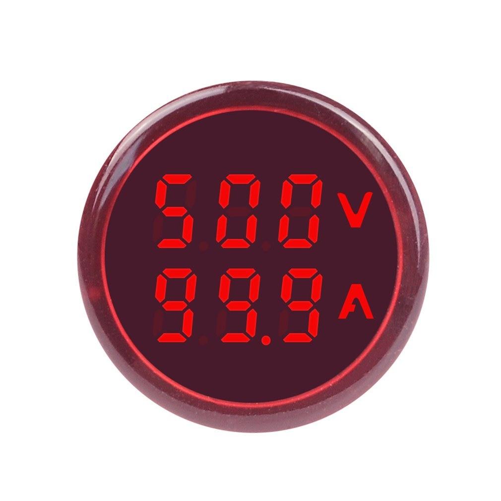 SINOTIMER ST16VA 22mm Indicator Round LED Digital Voltage Current Meter Signal Lights Combo Meter Tester 60-500V 0-100A