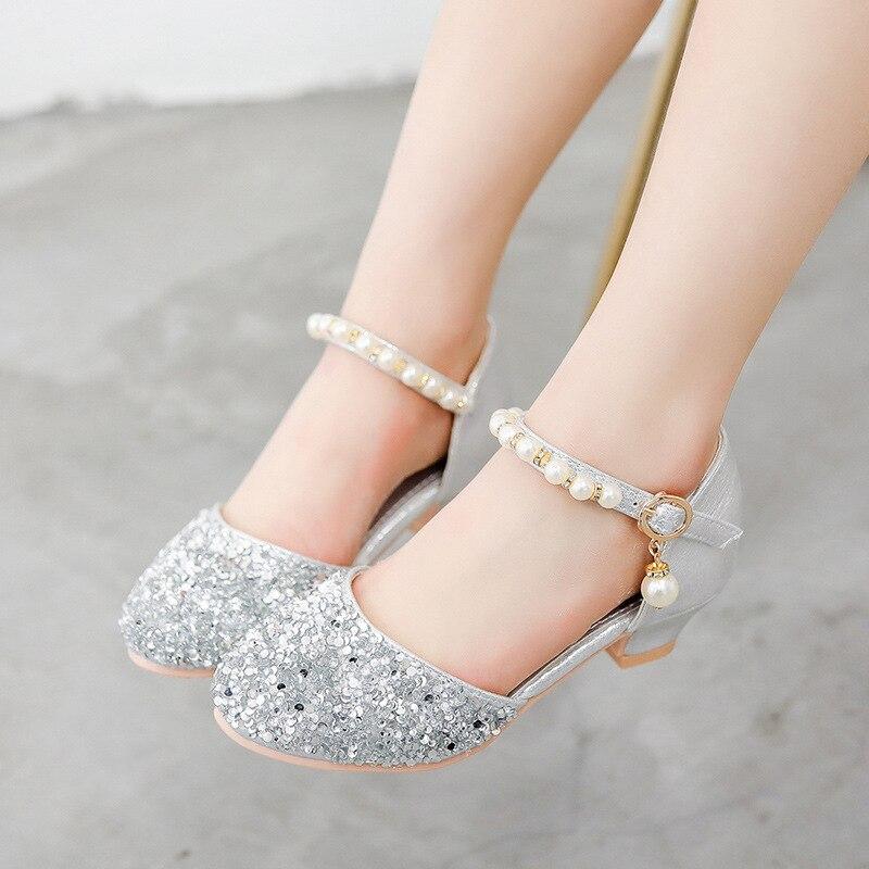 Anne ve Çocuk'ten Deri Ayakkabılar'de Snoffy çocuk parti ayakkabıları taklidi kızlar yüksek topuklu inci çocuklar Glitter ayakkabı prenses düğün ayakkabı kızlar için TX373 title=