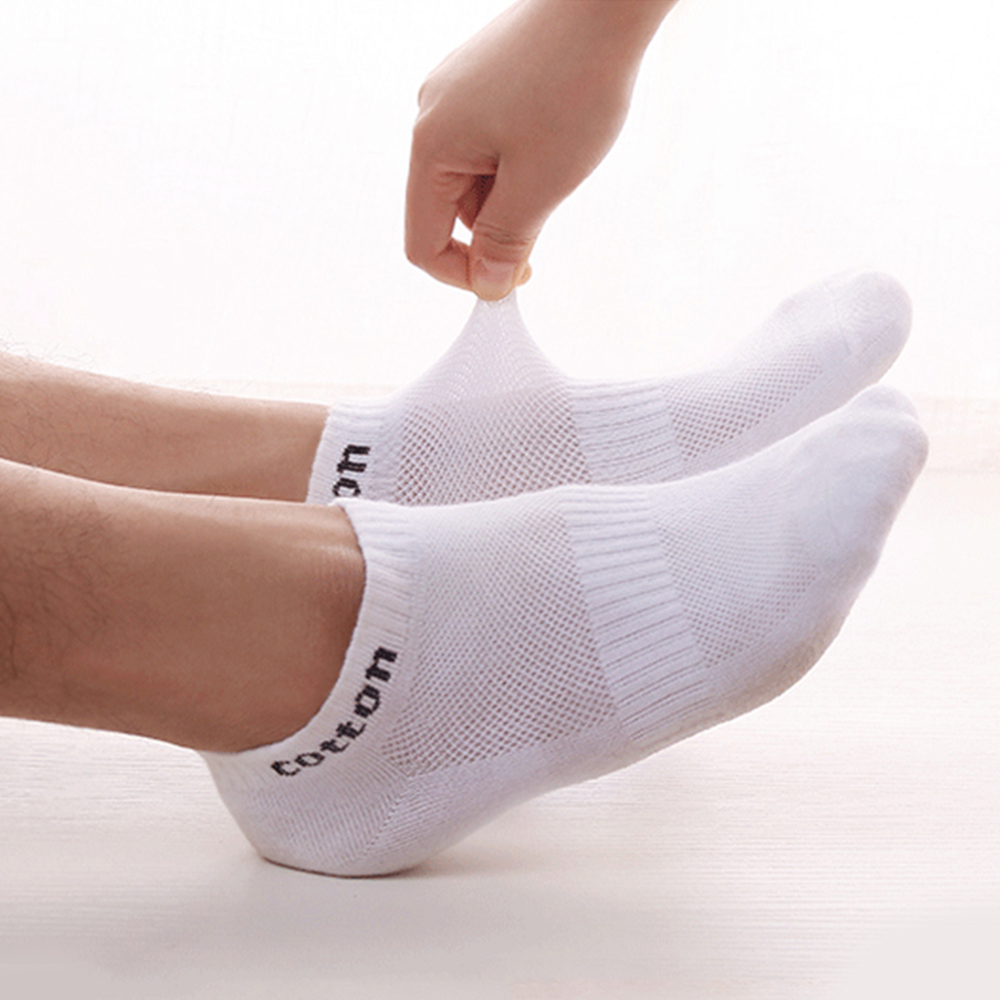 Summer Sweat-absorbent Mesh Socks Men's Socks Breathable Sports Invisible Short Socks Deodorant Ankle Socks