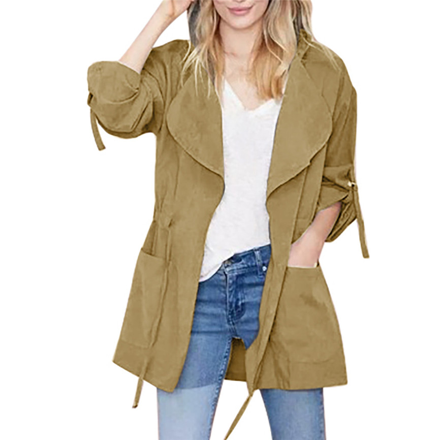 Women Jackets Coats Windbreaker-Top Long Fashion Drawstring Feminine Amp