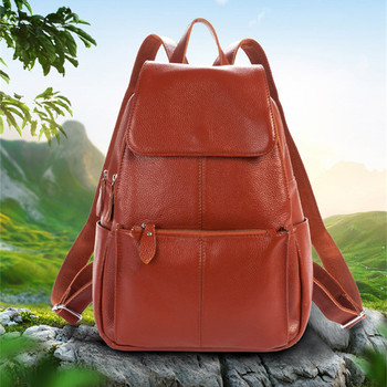 100% Guarantee Genuine Leather Backpack Natural First Layer Cow Leather School Bag Backpacks