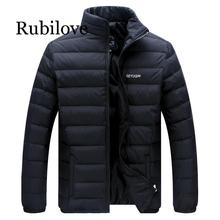 Rubilove Big Size 2019 White Duck Down Mens Winter Jacket Ultralight Casual Outerwear Snow Warm Fur Collar Brand Co