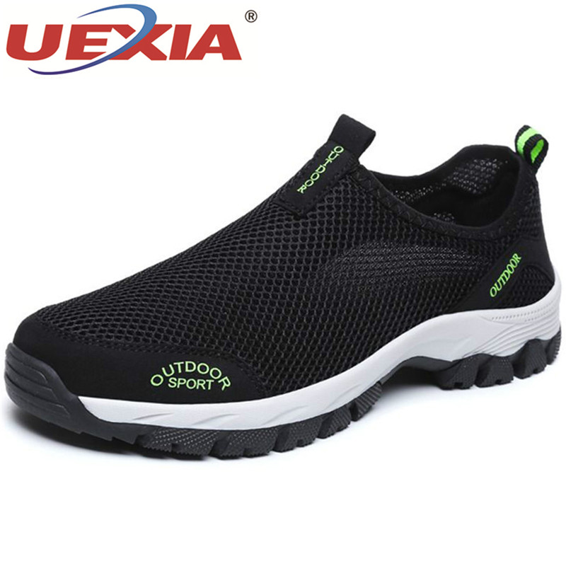 UEXIA 2019 Men Summer Comfortable Casual Shoes Slip-on Breathable Sport Mesh Flats Trainers Sneakers Water Loafers Big 39-49