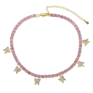 Image 5 - Romantic Princess Pink Tennis Chain Link Butterfly Pendant Necklaces Iced Out Bling AAA Zircon Rose Gold Women Hip hop Jewelry