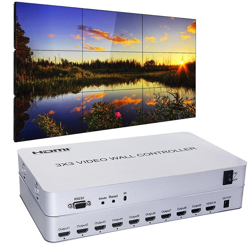3x3 Video Wall Controller| 9 Channels | 1 HDMI Input & 9 Outputs | 13 Display Modes 1X2 1x4,2x2,2x3,2x4,3x1,3x2,3x3,4x1, 4x2