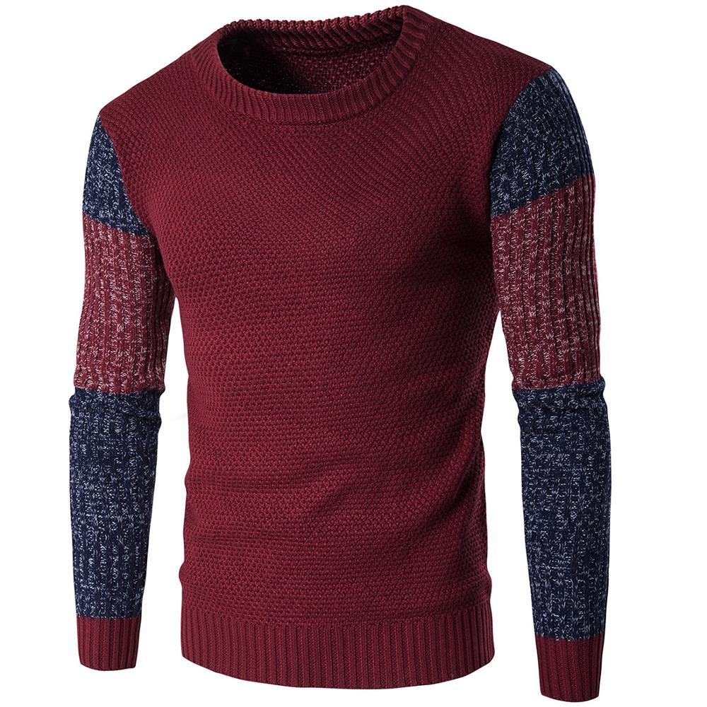 Winter 2020 O-Neck Sweater Men Vintage Tricot Pull Homme Casual Pullovers Male Outwear Slim Knitted Sweater
