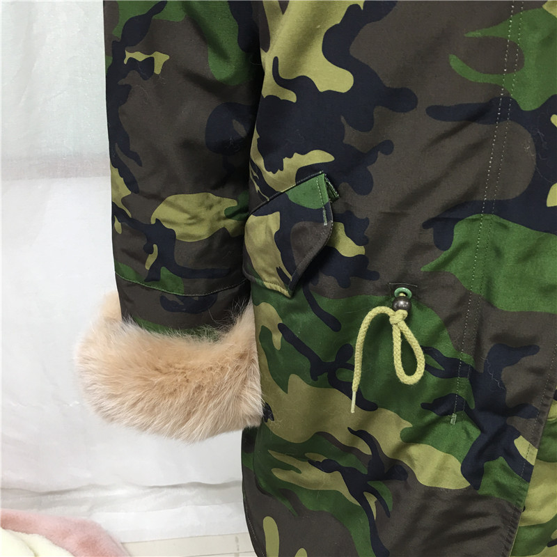 Camouflage Green Parka Men Style Apricot Fox Fur Collar New Jacket Tartan Fox Fur And Faux Fur Lining Long Coat - 5