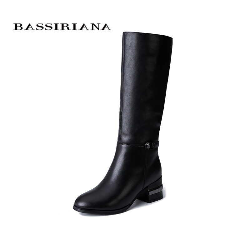 BASSIRIANA 2019 womens winter boots warm genuine fur leather rubber non-slip soles flat shoes.