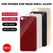 AAAA++++ 10Pcs/Set Big Hole Back Cover Glass for iPhone 8 8Plus Replacement Parts Rear Case With Logo CE Whlosale(China)