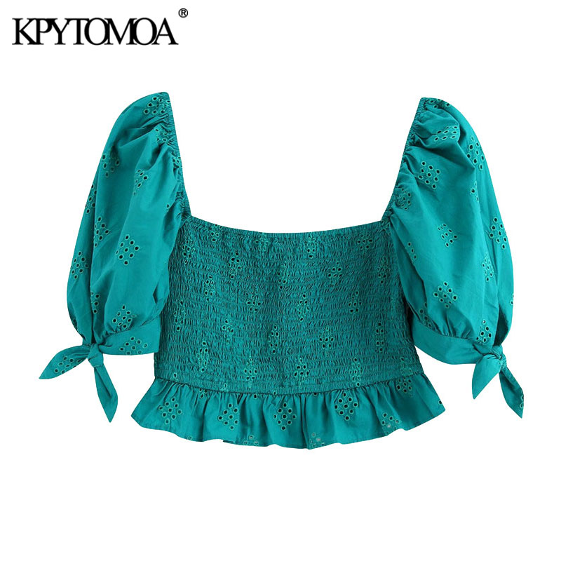 KPYTOMOA Women 2020 Fashion Cutwork Embroidery Ruffles Cropped Blouses Vintage Tied Puff Sleeve Smocked Female Shirts Chic Tops
