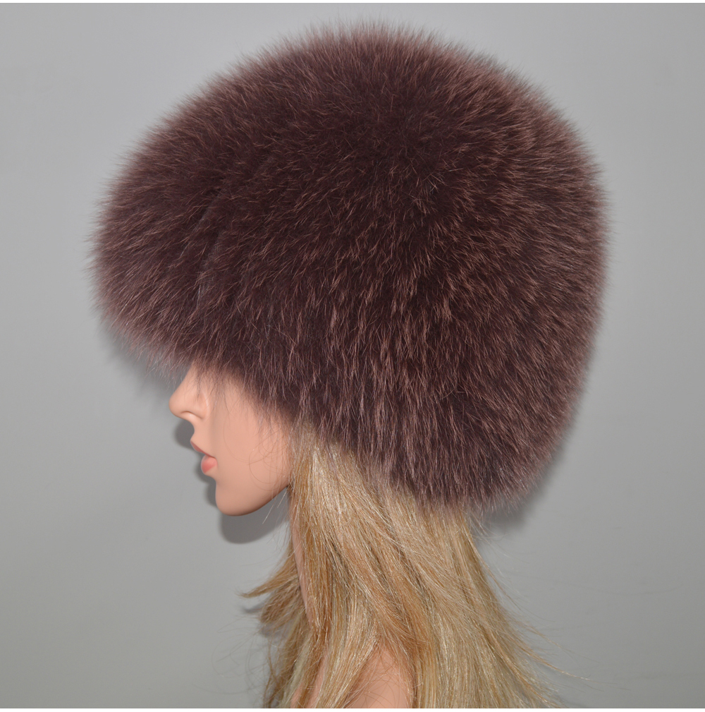 Hb0815cb7c7f64c2981805fdfc25089cab - New Luxury 100% Natural Real Fox Fur Hat Women Winter Knitted Real Fox Fur Bomber Cap Girls Warm Soft Fox Fur Beanies Hats