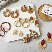Ztech New Korea Handmade Bamboo Wooden Straw Weave Rattan Vine Braid Drop Earrings Fashion Round Long For Women Girls