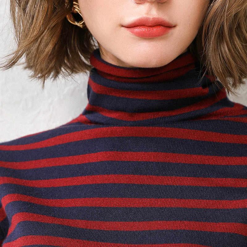 LHZSYY 2019 Осень Новый ворс стоячий воротник Женский вязаный свитер модный полосатый Свободный пуловер Джемпер мягкая дикая рубашка женская