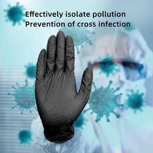 Image 2 - Nitrile Gloves Black 100pcs/lot Food Grade Waterproof Allergy Free Disposable Work Safety Gloves Nitrile Gloves Mechanic