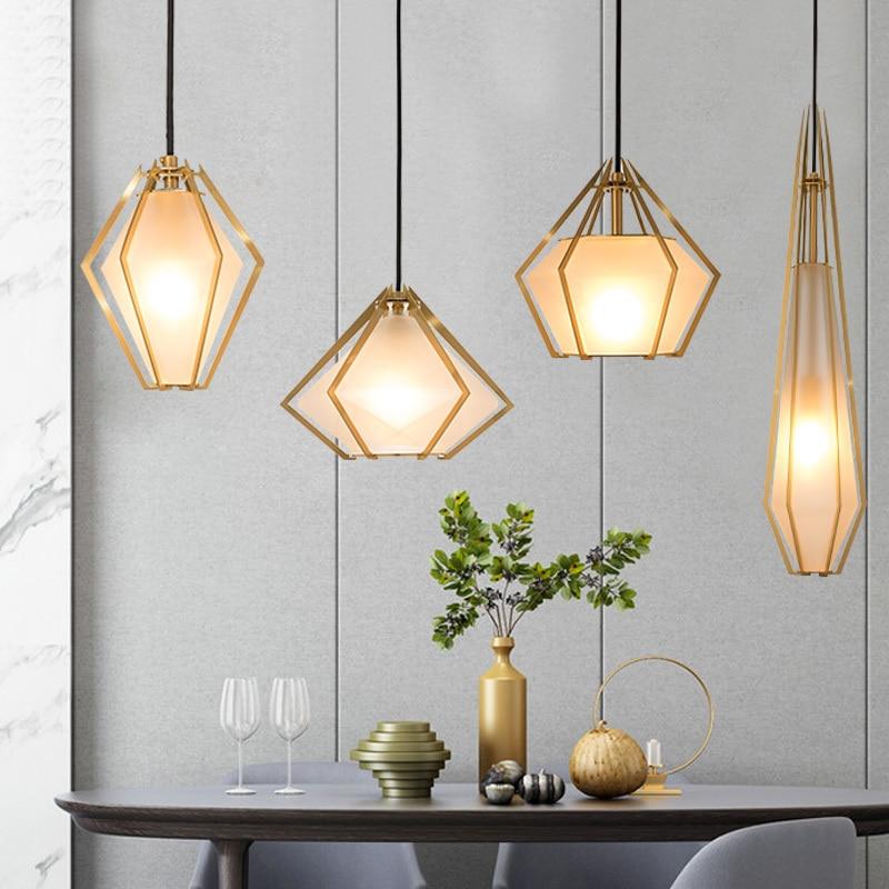 Nordic Copper Geometric Pendant Lights