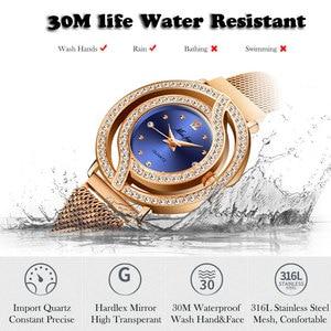 Image 4 - MISSFOX Magnetische Uhr Frauen Luxus Marke Wasserdicht Diamant Frauen Uhren Hohl Blau Quarz Elegante Gold Damen armbanduhr