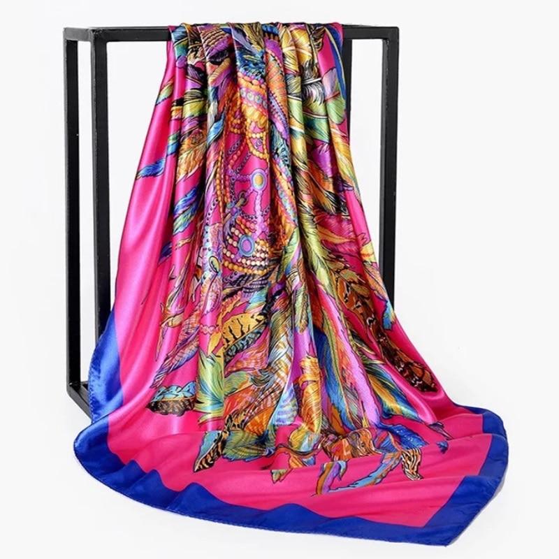 2019 90*90cm Summer Women Silk Foulard Scarves Square Scarf Ladies Luxury Brand Beach Shawl Bandanna Large Hijab Muffler Female