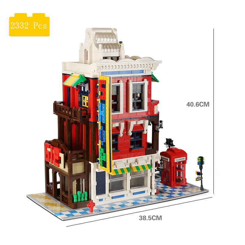 Blocs de construction petits blocs de construction de particules garçons et filles jouets éducatifs vue sur la rue villa blocs de construction coin magasin