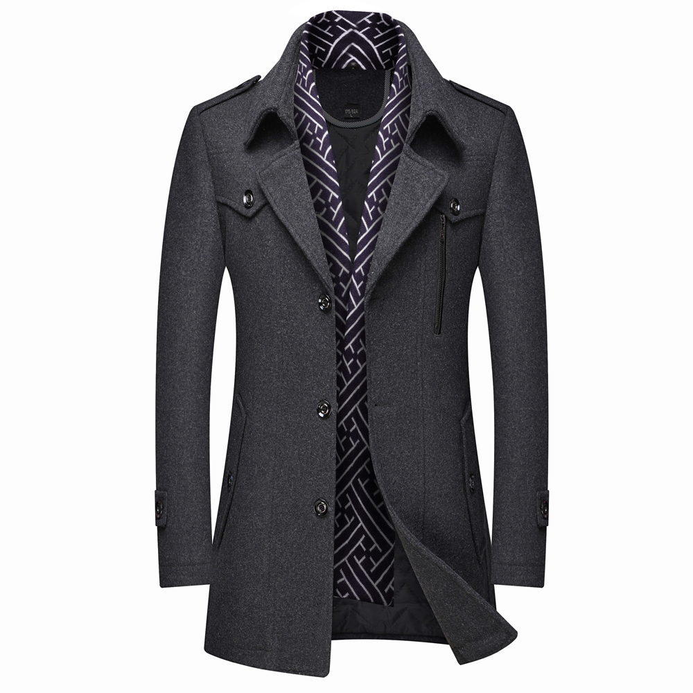 Thoshine Brand Winter 50% Wool Men Thick Coats High Quality Slim Fit Scarf Lining Fashion Wool Blends Outerwear Jackets Trench