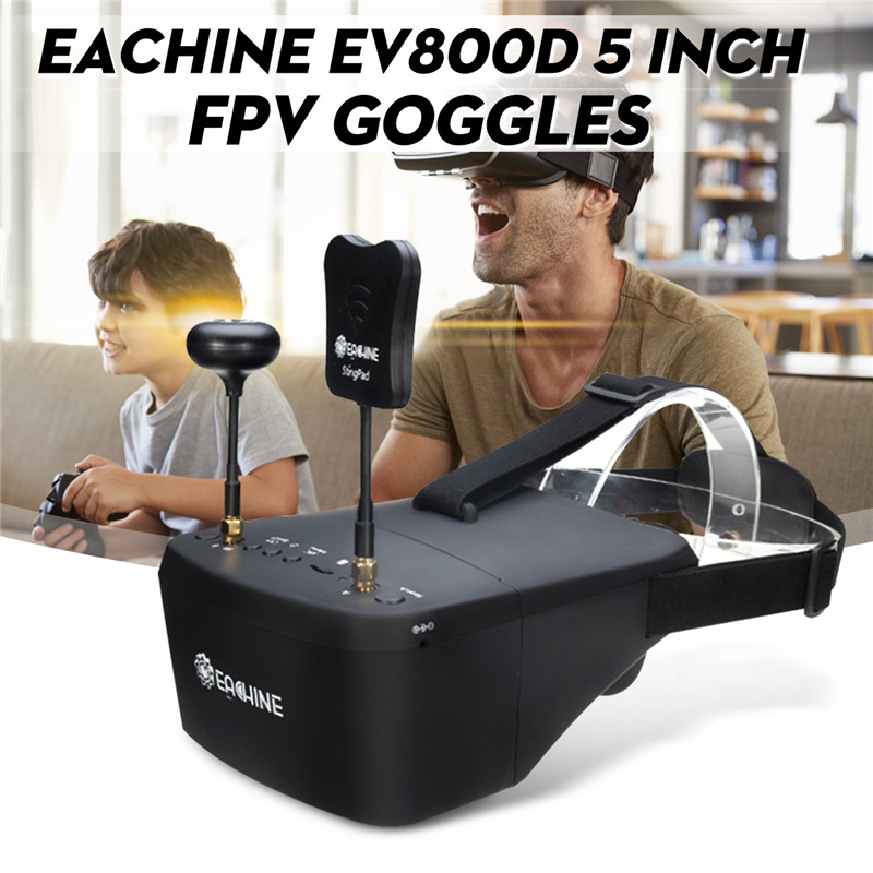 EV800D 5.8G 40CH Diversity FPV Goggles 5 inch 800*480 Video Headset DVR For RC
