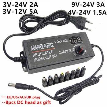범용 ac dc eu 220v ~ 12 v 5v 6v 9v 3 9 12 v led 여행용 가변 전원 어댑터 공급 장치 ac/dc 어댑터 충전기 adaptador