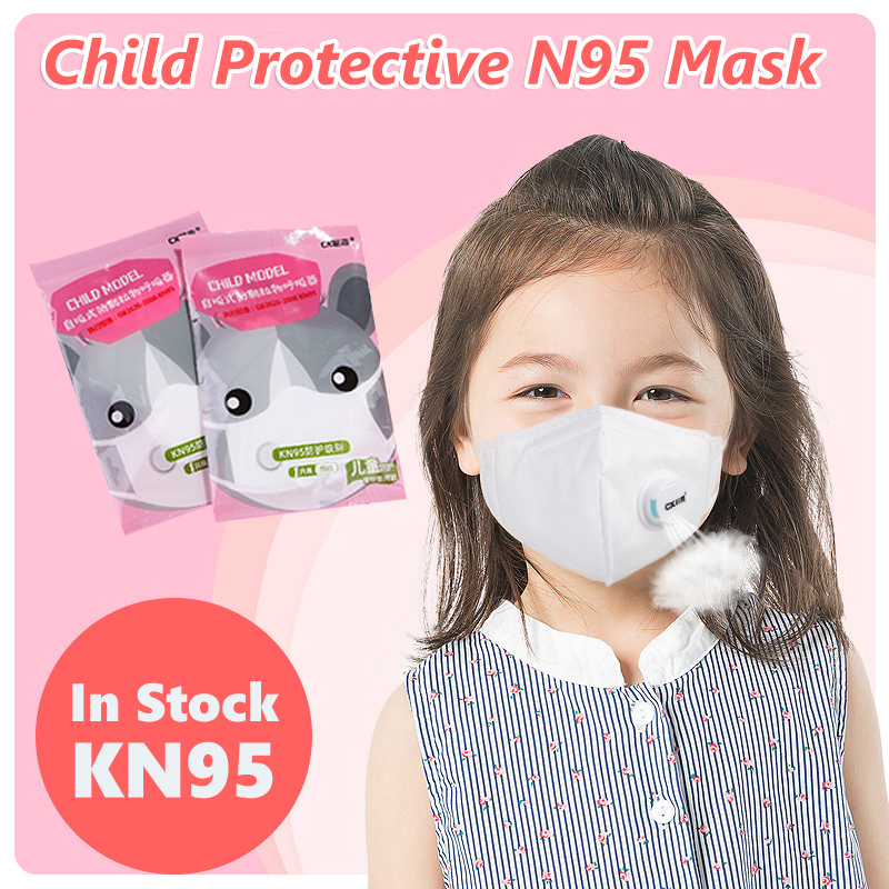 Children's KN95 Mask - Valved Face Mask N95 Protection Face Mask Mouth Cover Pm2.5 Dust Masks For Kids With Filter Valve