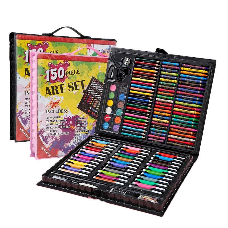 208 шт детский подарок акварельный рисунок художественный маркер кисть Набор для рисования детский художественный Набор для рисования подарок для детей канцелярские принадлежности для офиса - Цвет: 150color