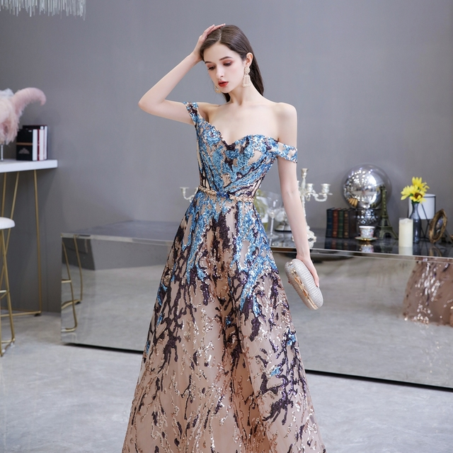 Sexy Prom Dress 2021 Colorful Sequin Off Shoulder Sweetheart Long Party A Line Formal Graduation Gown Evening Celebration Dress 6