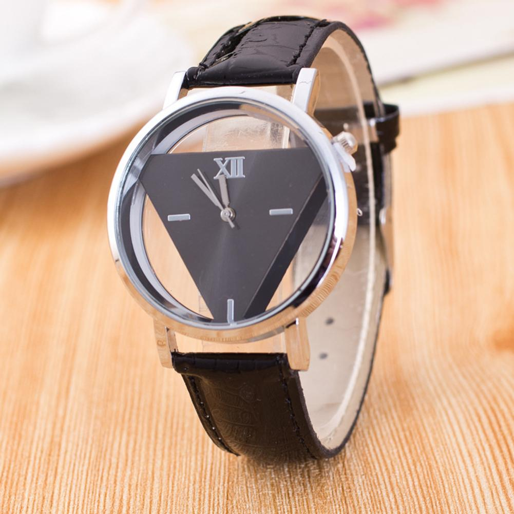 Fashion Watch Hollow  Faux Leather Strap Round Dial Analog Quartz Wrist Watch Couple Watches Buckle Aux Leather Roman Numer