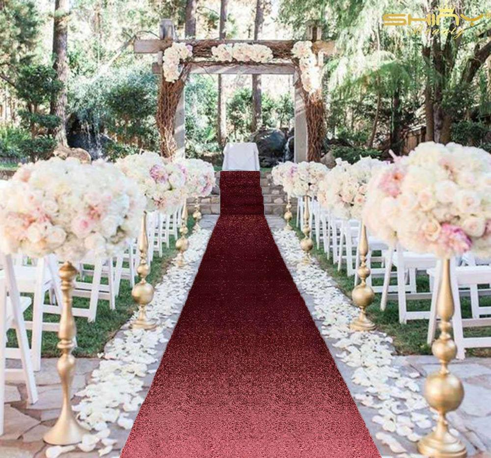 Sequin Aisle Runners 3Ft X 15Ft Burgundy Glitter Party Aisle Carpet Runner Wedding Carpets Wedding Accessories-M1025