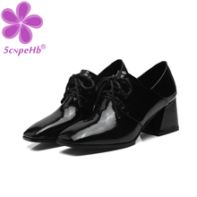 Women Pumps Cow Leather Lace Up Square Toe 2020 Autumn Spring High Heels Lady Shoes Female Vintage Retro British Style british style casual leather shoes men lace up round toe retro shoes spring summer oxfords cow leather pure black