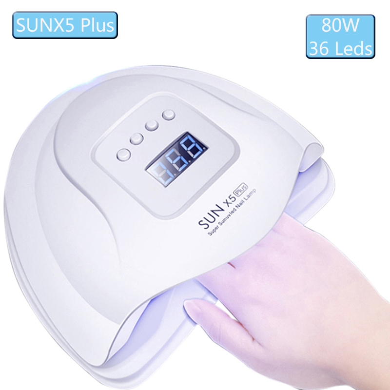 80W LED UV Nail Lamp 36 Leds Nail Dryer For Curing Hand UV Gel Nail Polish with Sensor Timer LCD Display 30/60/90s SUNX5 Plus image