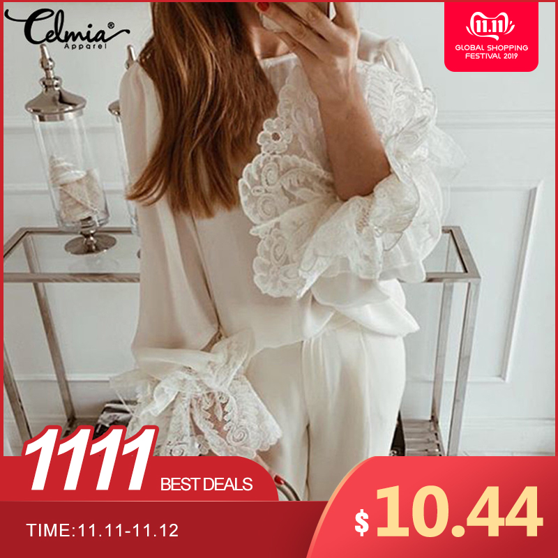 Sexy White Lace Shirts Women's Fashion Blouses Celmia 2019 Autumn Long Flare Sleeve Ruffles Tops Casual Loose Blusas Mujer S-5XL