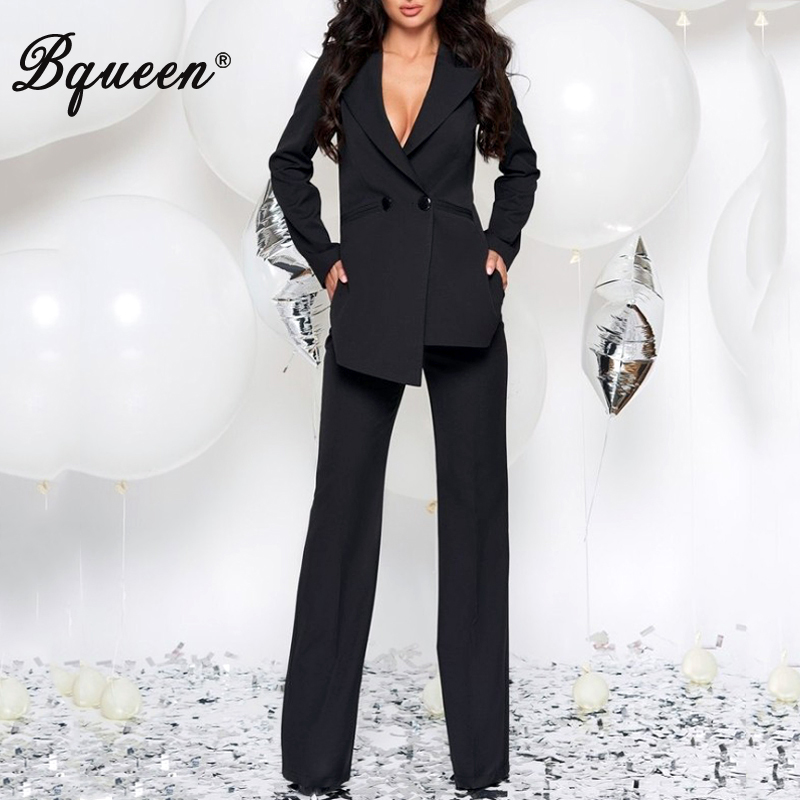Bqueen 2019 Fashion V-Neck Sexy  Blazers Formal Women  Elegant Skinny Hollow Out Split  Black  White Two Pieces Pant Suits Set