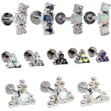 1PC G23 Titanium&Steel Opal Gem Cluster Ear Tragus Helix Cartilage Earring Stud Labret Bar Lip Ring Body Piercing Jewelry 16g