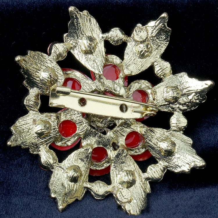 High end Retro Crystal Brooch New Fashion Wild Purple Gold Flower Brooch Women 39 s Sweater Jewelry Female Christmas Gift in Brooches from Jewelry amp Accessories