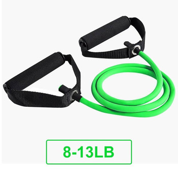 5 Levels Resistance Bands with Handles Yoga Pull Rope Elastic Fitness Exercise Tube Band for Home Workouts Strength Training - Green