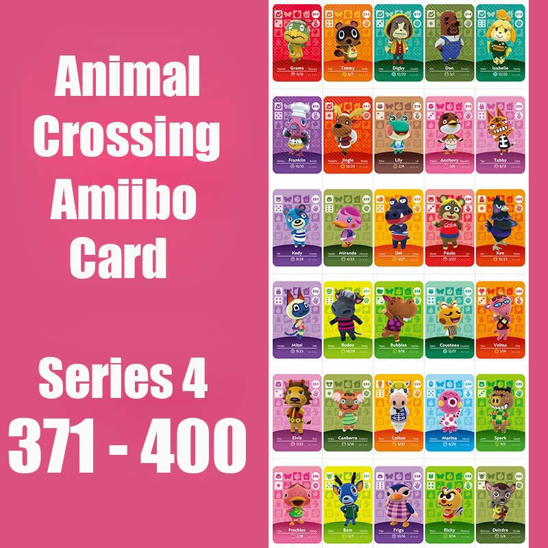 Series 4 (371 to 400) Animal Crossing Card Amiibo Cards locks nfc Card Work for Switch NS 3DS Games Animal Crossing Amiibo Card image