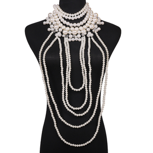Image 5 - Miwens 2019 Luxury Unique Simulated Pearl Body Chains Jewelry For Women Bridal Wedding Gift Big Statement Jewelrys Brand Design