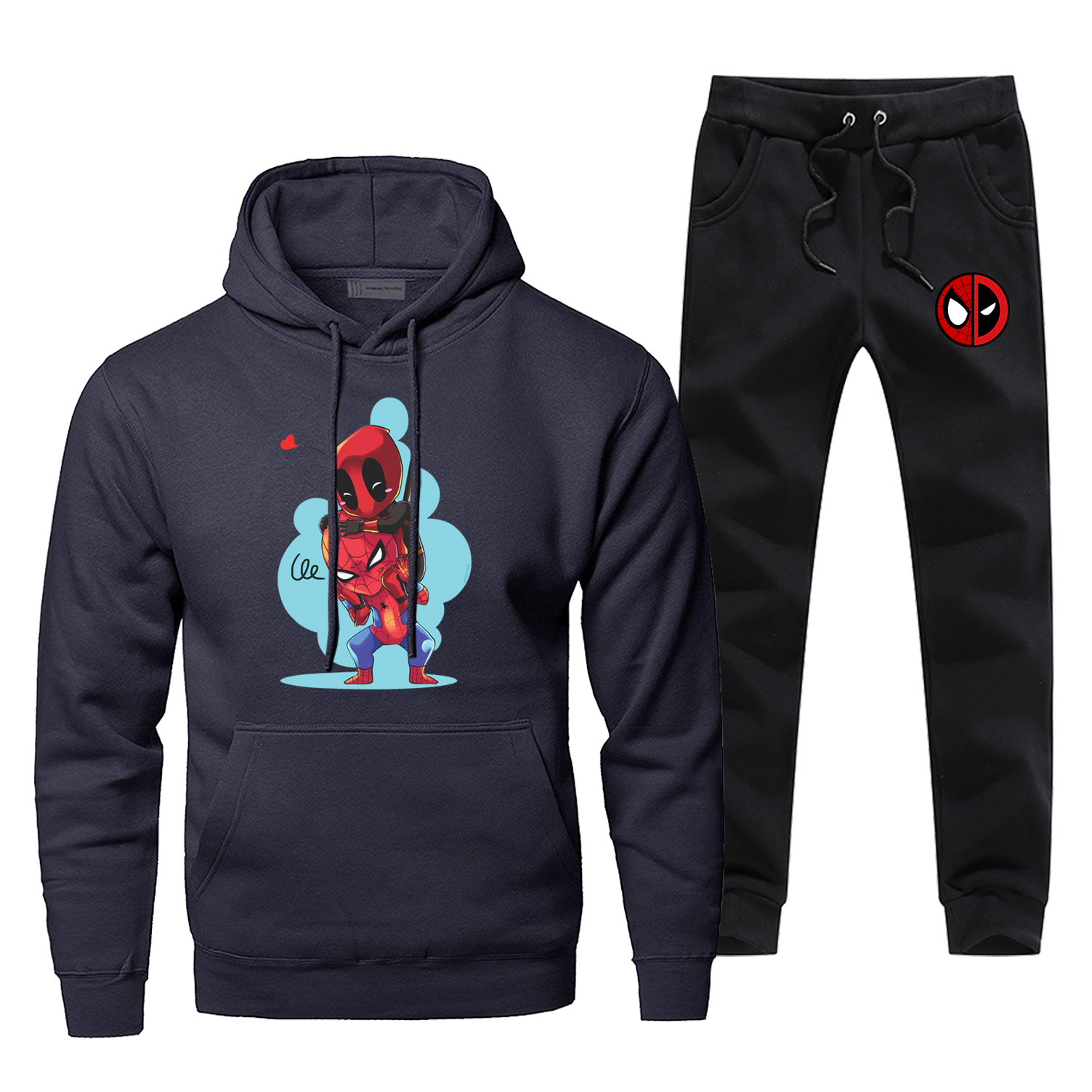 Super Hero Funny Casaul Male Set Deadpool Fleece Fashion Men's Full Suit Tracksuit Spider-Man Comfortable Hip Hop Sportsman Wear